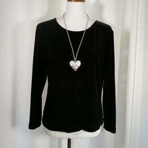 BCBG Maxazria Black Velvet Top Size Small